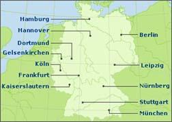 CMappa delle città ospitanti al mondiale in Germania